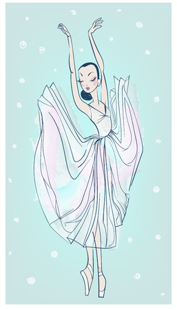 vector dancing beautiful ballerina in sketchy style Ilustracja