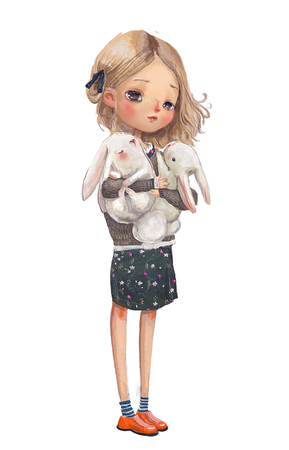 cute summer girl with hares