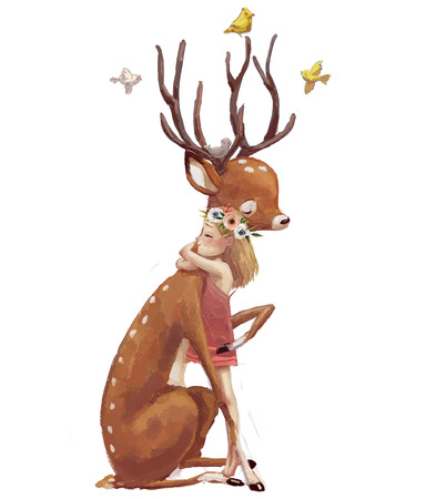 cute summer girl with deer