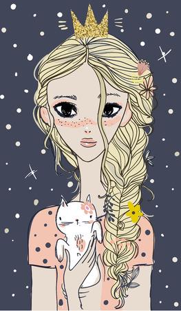 彼女の手に子猫とかわいい夏の女の子。  イラスト・ベクター素材