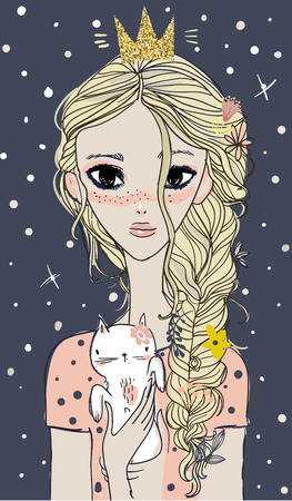 Cute summer girl with kitten on her hands. Illustration