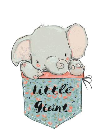 A little cute pocket elephant vector illustration Illustration