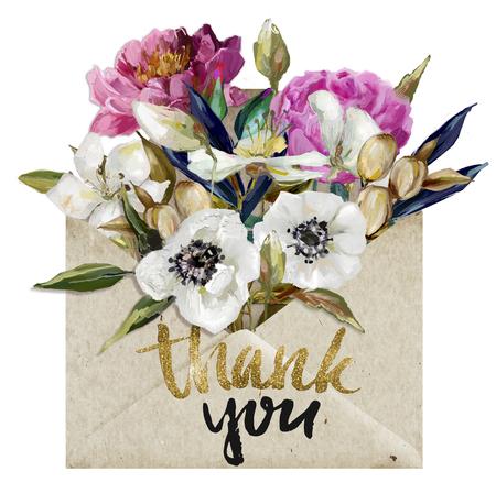 花の入った封筒 写真素材
