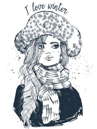 portret van jonge mooie vrouw met wanten