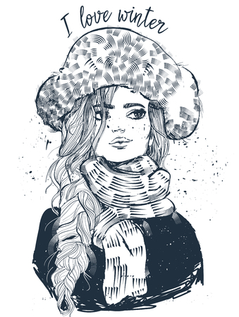 portrait of young beautiful woman with mittens Vectores