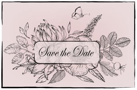 bloemen vectorframe - zwart en wit - bewaar de datum Stock Illustratie