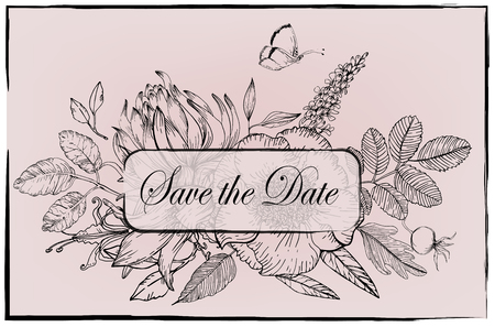 floral vector frame -black and white - save the date
