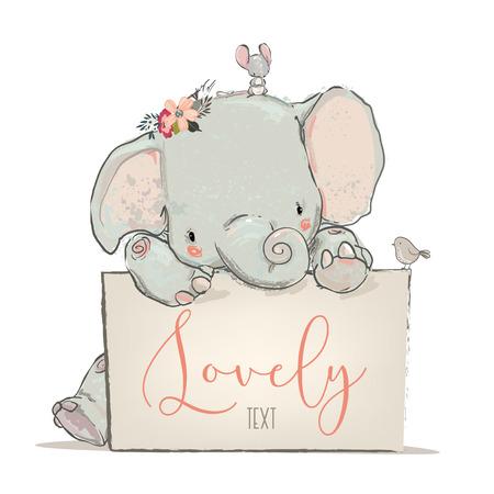 マウスと鳥ベクトルイラストを持つ小さな美しい象