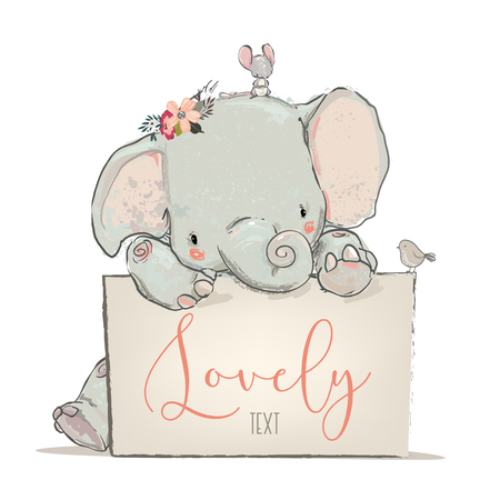 little lovely elephant with mouse and bird- vector illustration