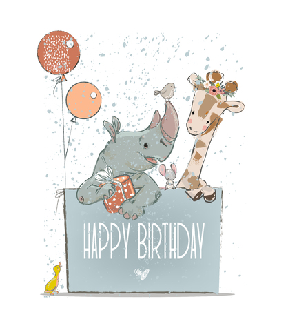 Kleine mooie neushoorn met giraf, muis en vogels. Vector Illustratie