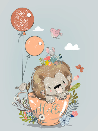Cute lion on tea cup with balloons. Vectores