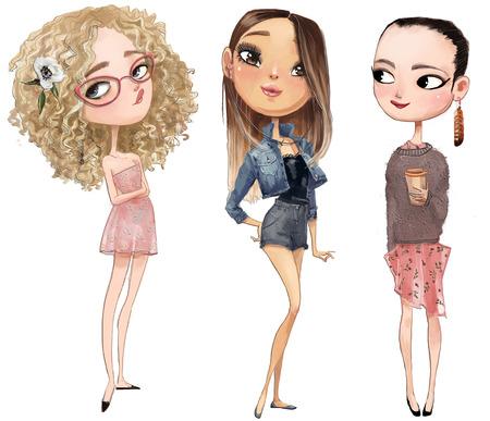 leuke cartoon hipster meisjes