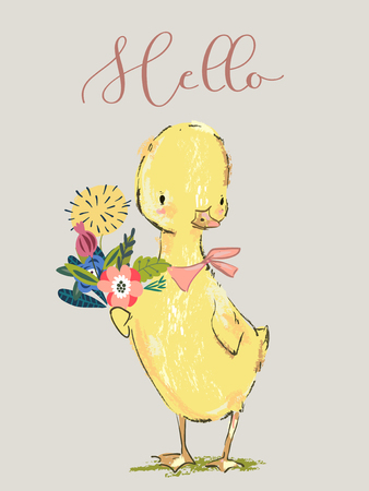 A cute little yellow duck with floral bouqet Иллюстрация