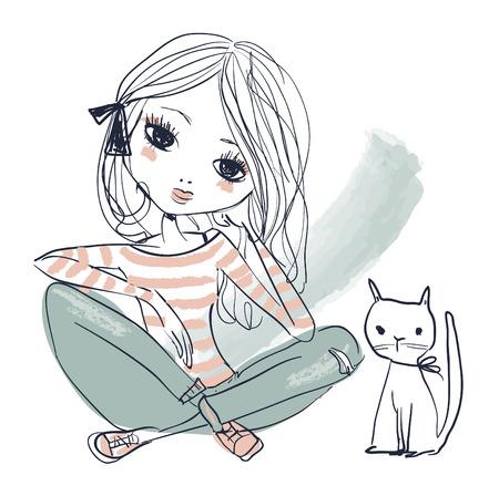 cute portrait of little princess with black cat Ilustração