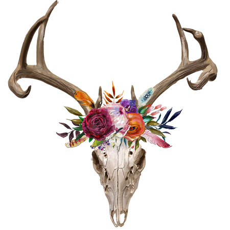 deer skull with floral wreath Фото со стока