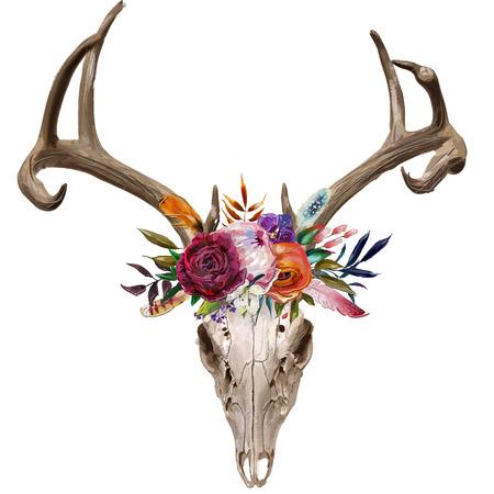 deer skull with floral wreath Standard-Bild