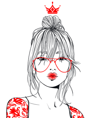 Young beautiful woman with glasses vector illustration.
