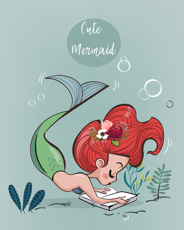 Cute cartoon pink mermaid with book - vector illustration