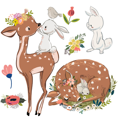 cute fawn and white hares or rabbits. vector collection on white background.