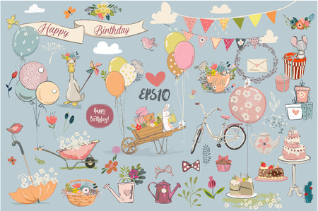 Birthday lovely elements collection. Vettoriali