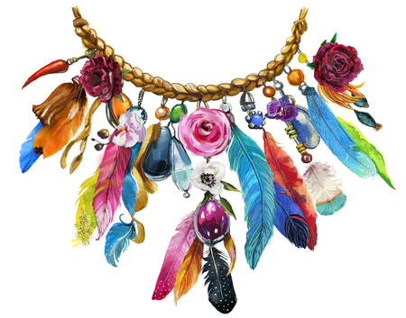 watercolor illustration with floral necklace Stockfoto