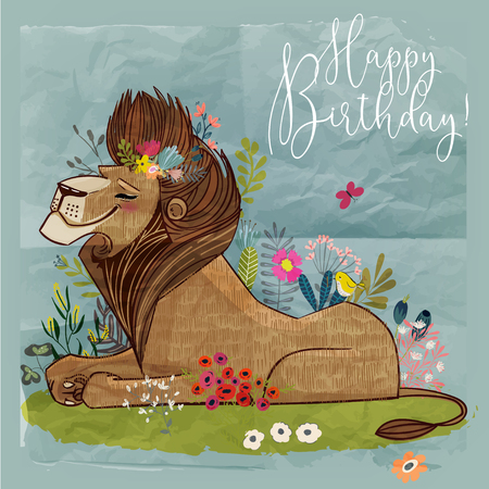 cute cartoon lion king. vector birthday card