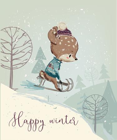 Cute fawn on sleigh Illustration