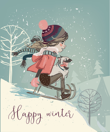 Cute girl on sleigh Stock Illustratie