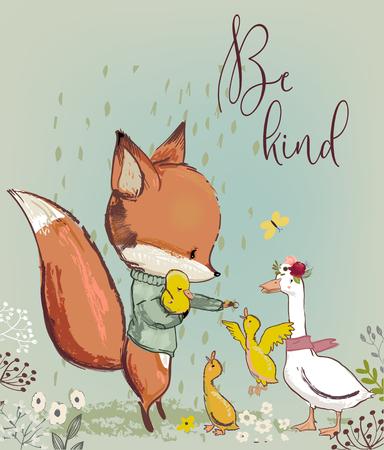 cute fox with ducks