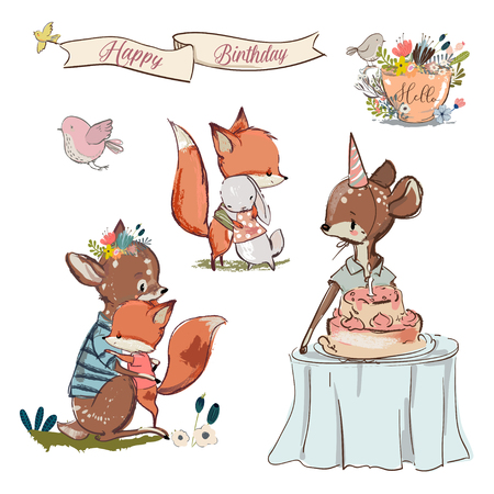 Set with cute fox in cartoon illustration.