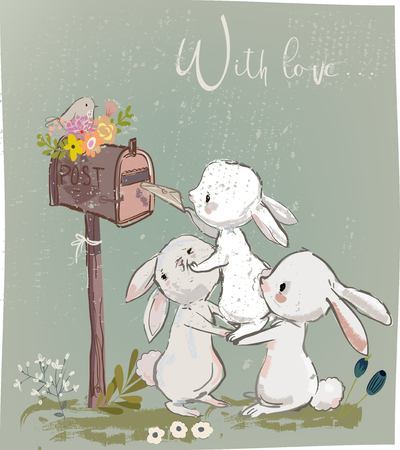 Cute hares with letter opening a mailbox illustration.