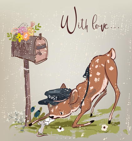 cute little deer with congratulatory letter and mouse