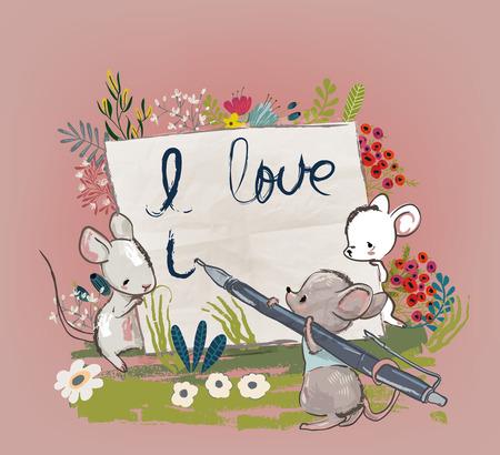 Cute mice writing illustration