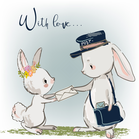 cute postman bunny sending letters with text WITH LOVE Ilustracja