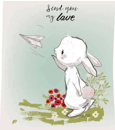 cute bunny sending letters with text SEND YOU MY LOVE Illustration