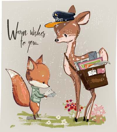 Cute young deer and fox with letter vector illustration Vectores