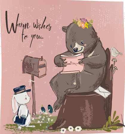 Cute hare and bear with letter Vectores