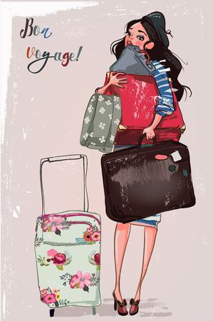 cute cartoon girl with bags Vector illustration. Ilustrace