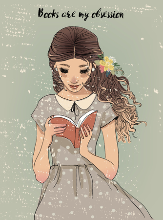 Portrait of a young woman with book illustration.