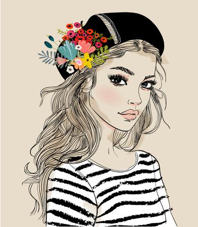 Portret młodej kobiety z kwiatami