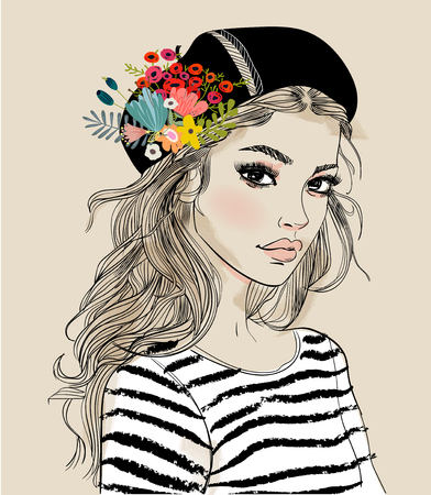 Portret van een jonge vrouw met bloemen Stockfoto - 98920478