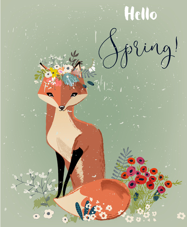 cute fox with floral wreath Illustration