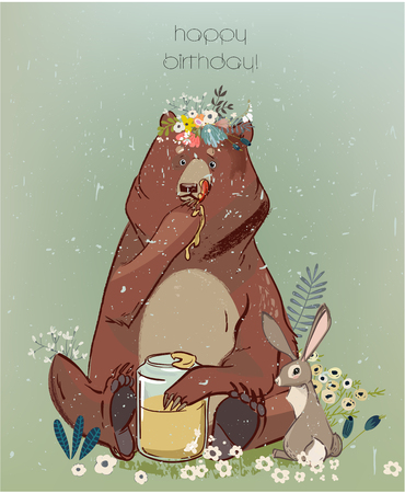 Cute cartoon lion bear and hare Illustration