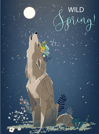 wolf with flowers illustration.