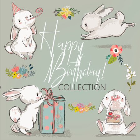 cute little birthday hares collection. vector illustration