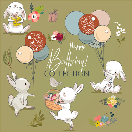 Cute birthday hares collection.