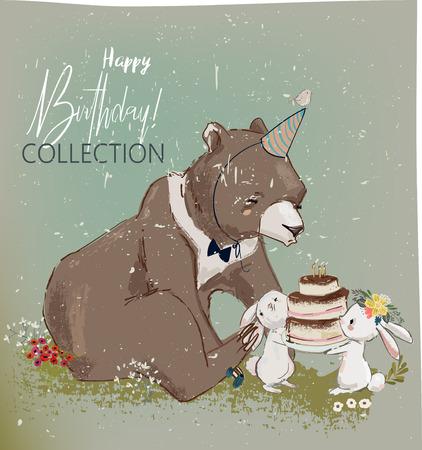 cute birthday hares and bear Иллюстрация