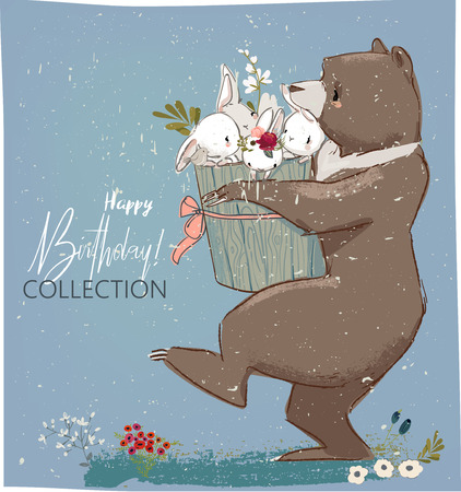 Happy birthday card template with hares and bear.