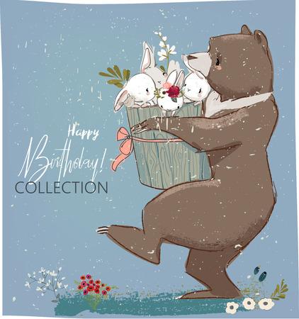 Zadowolony urodziny szablon karty z zające i niedźwiedzia. Ilustracje wektorowe
