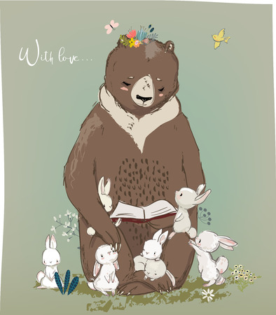 Cute little birthday hares and bear vector illustration. 向量圖像